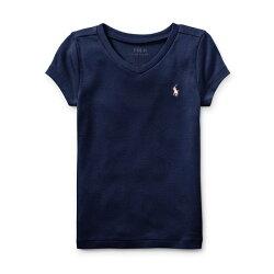 美國百分百【Ralph Lauren】V領 T恤 RL 短袖 T-shirt Polo 素面 小馬 粉紅色 女 I398