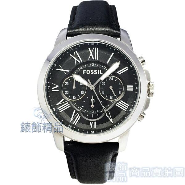 【錶飾精品】FOSSIL手錶FS4812IE羅馬時標三眼計時黑面黑色錶帶44mm男錶