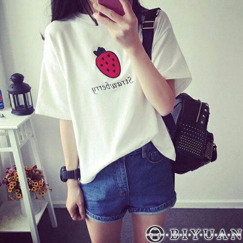 可愛草莓短袖T恤【FG0002】OBIYUAN韓版圓領短袖上衣共1色(女裝)