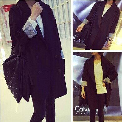 西裝外套【心齋橋】韓版新款雙排扣寬鬆版型中長款袖口捲邊西裝外套FAN2130(現+預)