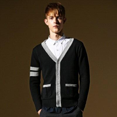 ~針織外套長袖針織衫~薄款V領拼色條紋男外套73ik70~ ~~米蘭 ~