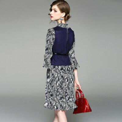 連身裙喇叭袖洋裝(兩件套)-圓領印花麂皮絨背心女連衣裙73of159【獨家進口】【米蘭精品】