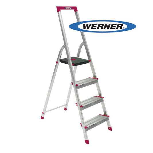 美國 Werner 穩耐安全梯 L234R-5 鋁合金寬踏板4階梯 大平台 鋁梯 A字梯 梯子 /個