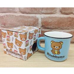 【真愛日本】 17060800019 陶瓷口壺馬克杯-懶熊坐姿藍 SAN-X 奶妹 奶熊 拉拉熊 水杯 杯子 茶杯