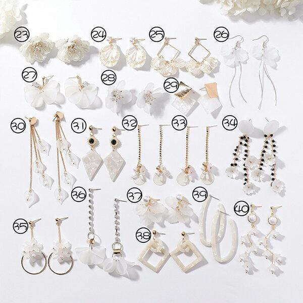 PS Mall 韓版手作貝殼花瓣幾何圓形金屬不對稱長款耳環【G091】 2