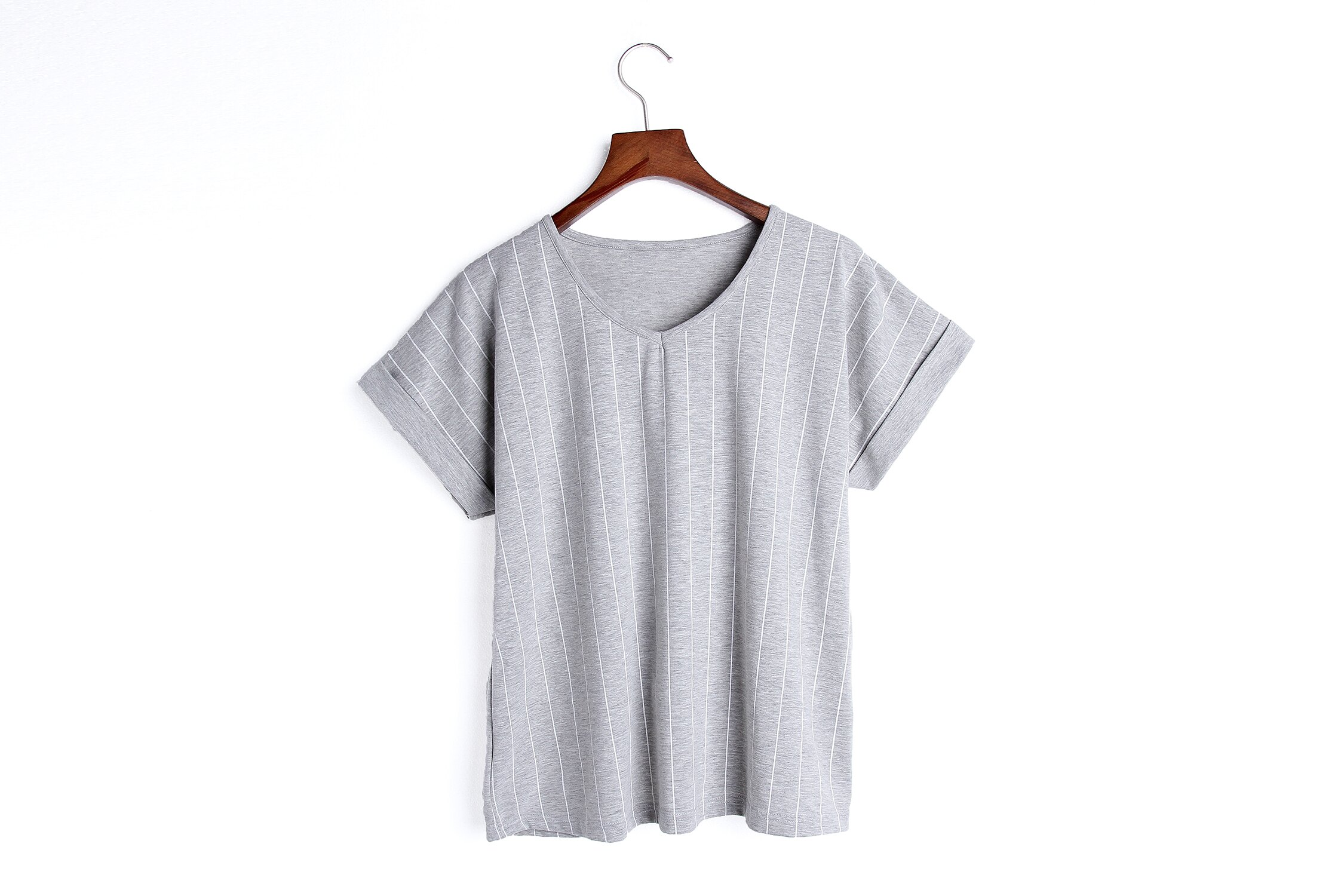 小清新流行居家服 純棉短袖短褲睡衣 直條紋家居服 休閒套裝 共兩色M-XL【漫時光】(87041L) 9