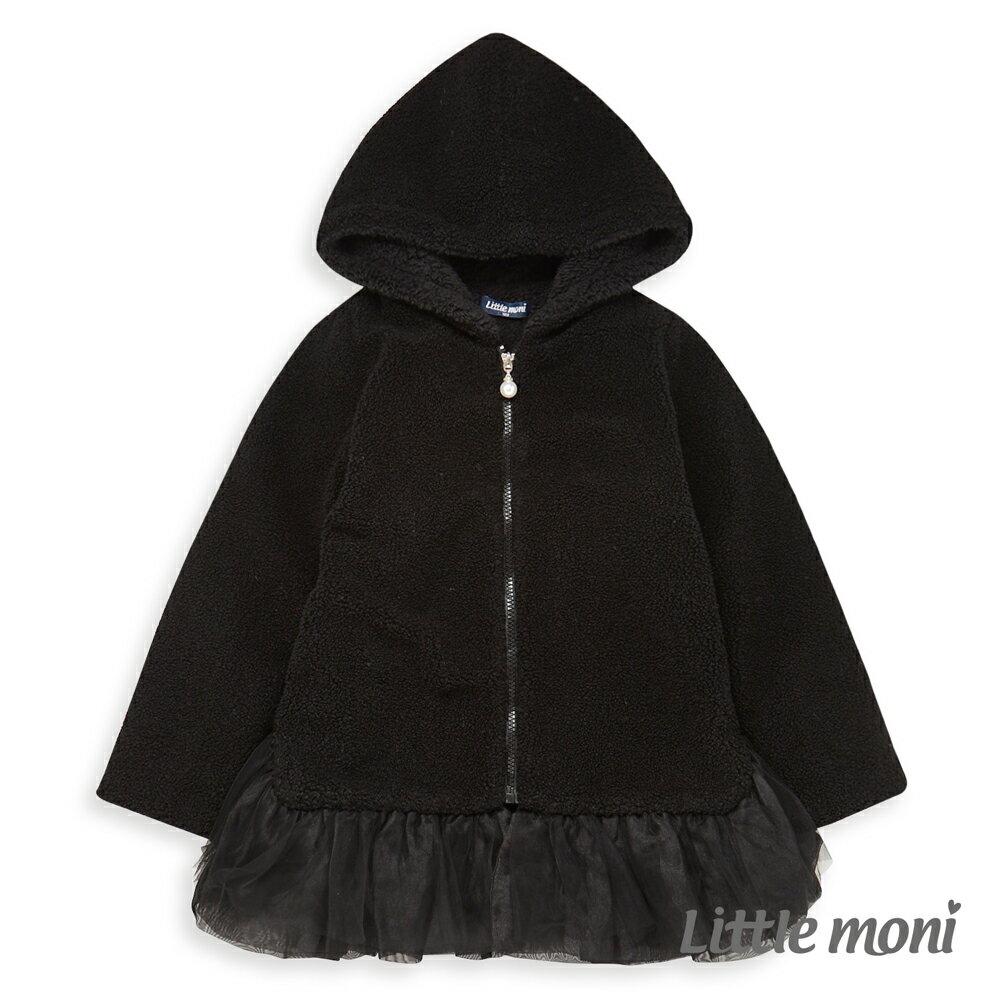 Little moni 連帽毛毛網紗外套-黑色(好窩生活節) 0