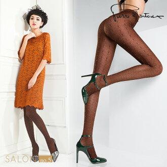 {8折} 義大利Pierre Mantoux花漾女人幾何圖案連褲襪 個性塑腿型 歐洲精品