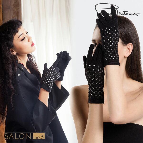 Salon No.5國際精品:{8折}義大利PierreMantoux酷炫鉚釘五指手套保暖舒適歐洲精品