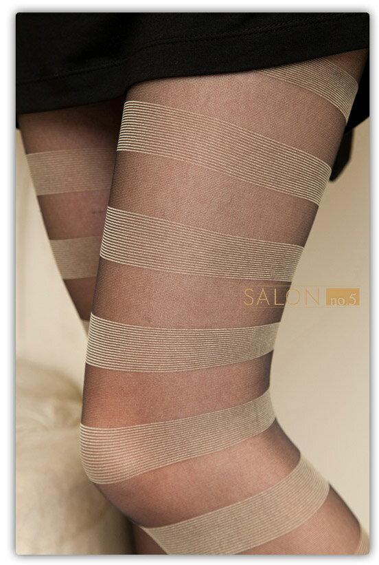 {55折} 義大利Pierre Mantoux 時尚橫紋連褲襪 原裝進口高彈性絲襪