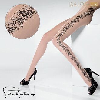 {55折}【女人我最大推薦】皮爾曼都Pierre Mantoux個性花瓣紋身襪 側面花紋連褲襪 國際精品