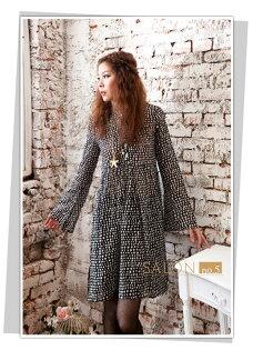 義大利皮爾曼都PierreMantoux小小圓點可愛喇叭袖純棉長版襯衫裙原裝進口