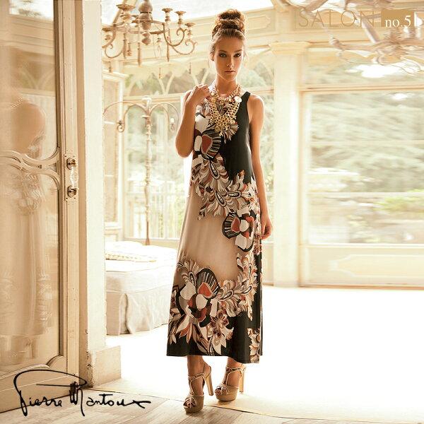 Salon No.5國際精品:{7折}皮爾曼都PierreMantoux絲滑修身背心長裙名師設計花紋歐洲精品