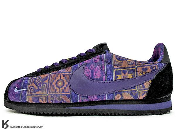 KUMASTOCK:2017台灣未發售經典復刻鞋款NIKECLASSICCORTEZNYLONLHMLOSPRIMEROS紫黑圖騰拉丁文化月尼龍布阿甘慢跑鞋LATINOHISTORYMONTH(AH7741-500)!