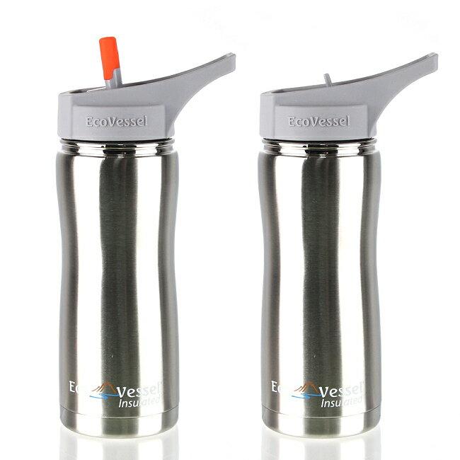 美國 Eco Vessel SUMMIT 不鏽鋼吸嘴頭保溫水壺(500cc)-炫銀