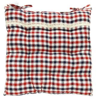 椅墊 純棉格子 紅 42x42