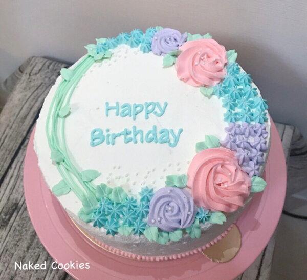 NakedCookies-8吋玫瑰花圈生日鮮奶油蛋糕活動慶生周歲婚禮