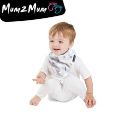 Mum 2 Mum 雙面竹纖維棉機能口水巾圍兜-飛機/藍條紋【悅兒園婦幼用品館】