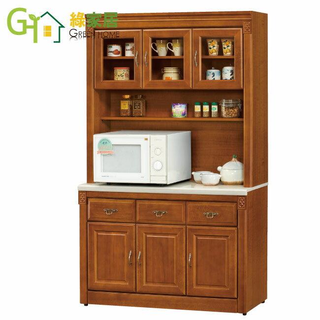 【綠家居】莫格斯 樟木4尺實木白雲石面收納櫃/ 餐櫃組合(上+下座)