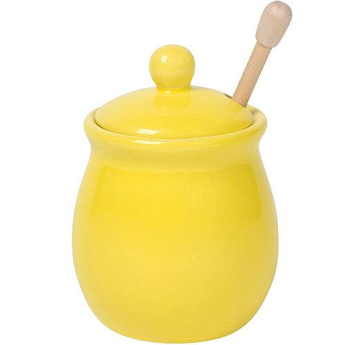 《NOW》竹製蜂蜜棒+陶罐(黃)