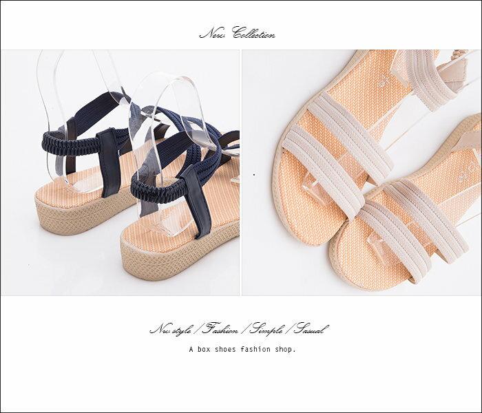 格子舖*【AS2628】嚴選麻繩布皮革材質 鬆緊帶穿拖 3CM坡跟雙一字涼鞋 3色 2