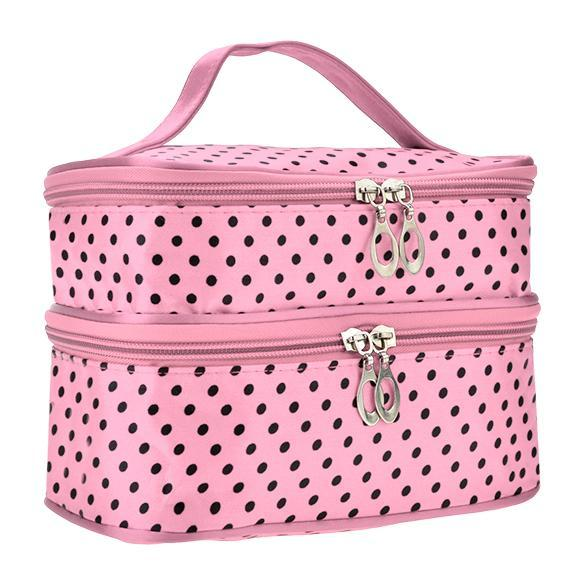 Portable Double-Deck Toiletry Bag Dot Pattern Makeup Bag 3