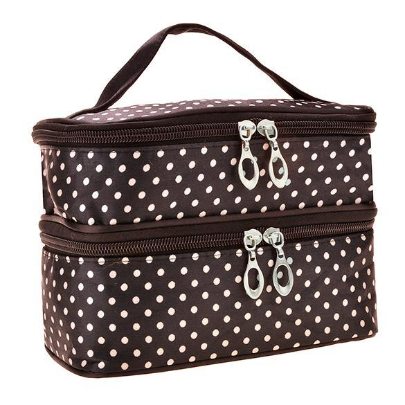Portable Double-Deck Toiletry Bag Dot Pattern Makeup Bag 1
