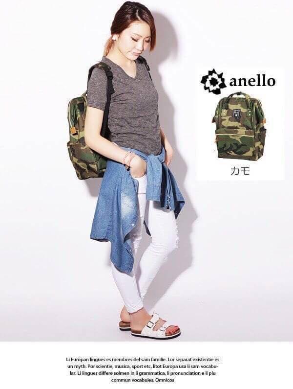 【日本anello】ANELLO 雙肩後背包 《大號》- 綠迷彩 2