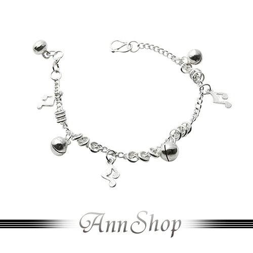 AnnShop小安的店~音符鈴鐺純銀小孩手鍊‧925純銀~ 款寶貝彌月禮珠寶銀飾 b914