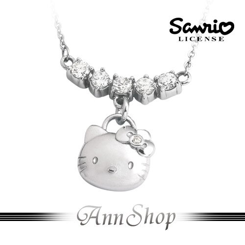 AnnShop【甜蜜約定2Sweet•排鑽Kitty白鋼項鍊】小安的店晶鑽凱蒂貓珠寶銀飾禮品NCT-58