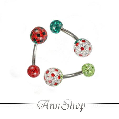 AnnShop【草莓派肚臍環‧316L鋼】小安的店人體另類穿洞tb007-9
