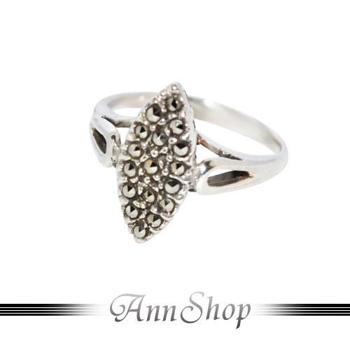 AnnShop【菱形圓金剛鑽純銀戒指•925純銀】小安的店經典復古風裸空銀飾禮品r91455