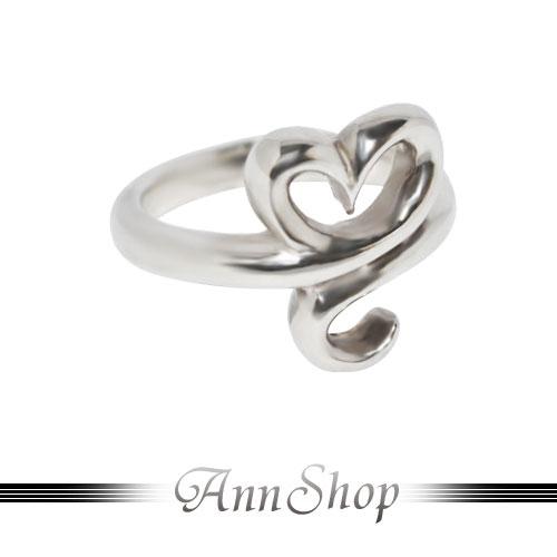 AnnShop【裸空愛心勾勾純銀戒指•925純銀】小安的店鏤空設計款珠寶銀飾禮品r91675