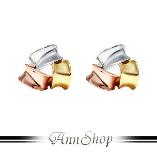 AnnShop【585K金•三色包容K金耳環】【一對】情人禮物V701