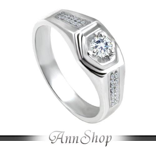 AnnShop【雙排鑽三爪單鋯石鑽石純銀戒指•925純銀】可客製化鑽石珠寶銀飾禮品ZR200