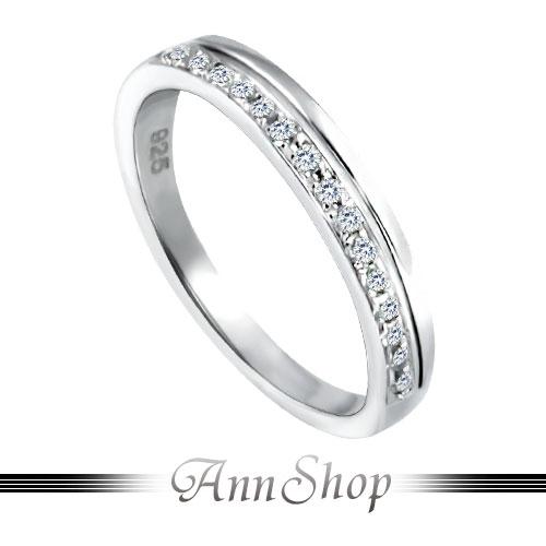 AnnShop【平衡鋯石鑽石純銀戒指•925純銀】可客製化鑽石珠寶銀飾禮品ZR528