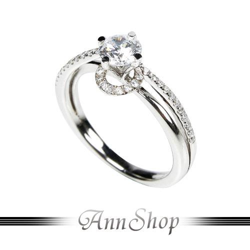 AnnShop~流線單鑽鋯石鑽戒•925純銀~小安的店獨特 款情人禮可客製化鑽石珠寶銀飾