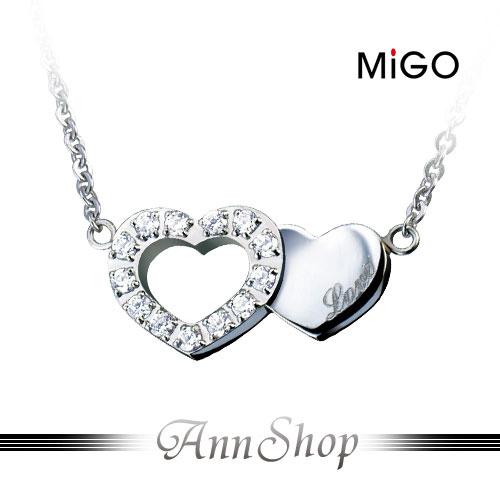 AnnShop~米格MiGO•清秀佳人白鋼項鍊~小安的店施華洛世奇愛心鏤空銀飾 SP413