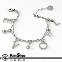 AnnShop【LOVE白鋼手鍊•316L鋼】小安的店情人禮物水鑽銀飾禮品b3009 0