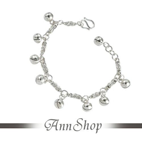 AnnShop【我的寶貝純銀小孩手鍊‧925純銀】小安的店銀飾精品鈴鐺不生鏽 b9010