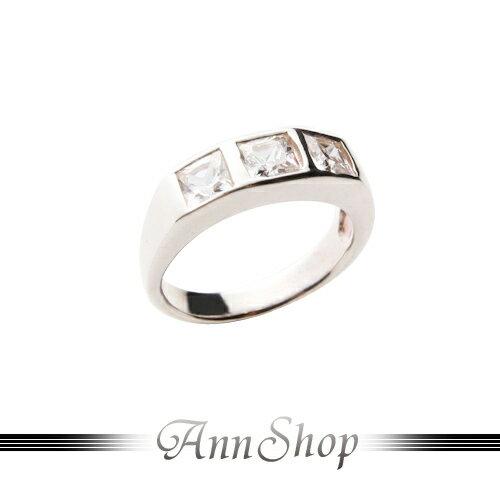 AnnShop~三方格鑲鑽純銀戒指•925純銀~小安的店白鋯石奢華耀眼尾戒銀飾 r9140