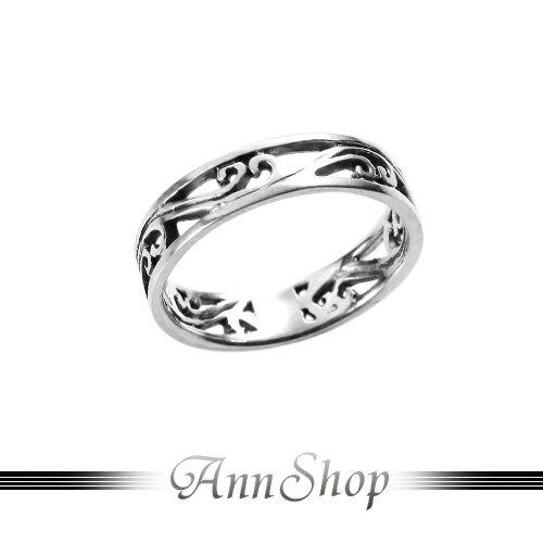 AnnShop~裸空波浪純銀戒指•925純銀~小安的店普普復古風鏤空尾戒銀飾 r91594