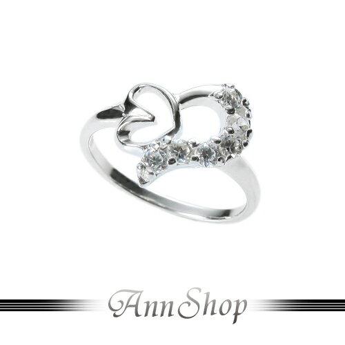 AnnShop【雙心邊鑲鑽純銀戒指•925純銀】小安的店甜美風獨特愛心晶鑽設計銀飾禮品r91596