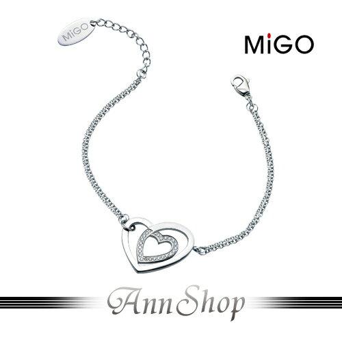 AnnShop【米格MiGO‧心心相印白鋼手鍊】銀飾精品專賣韓系愛心美鑽禮物SB356