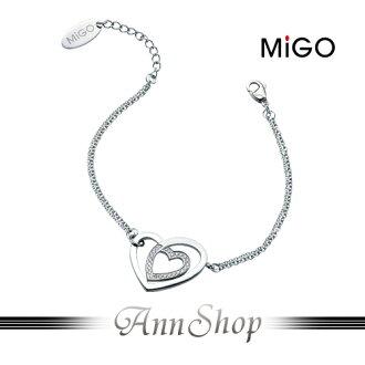 AnnShop【米格MiGO•心心相印白鋼手鍊】銀飾精品專賣韓系愛心美鑽禮物SB356