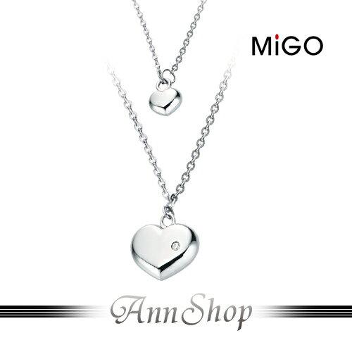 AnnShop【米格MiGO‧SWEET白鋼項鍊】小安的店銀飾精品愛心鋯石飾品配件SP352
