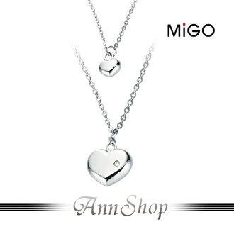 AnnShop【米格MiGO•SWEET白鋼項鍊】小安的店銀飾精品愛心鋯石飾品配件SP352