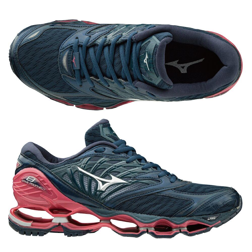 WAVE PROPHECY 8 一般型女款慢跑鞋 J1GD190003(黑灰X銀X桃紅)【美津濃MIZUNO】 1