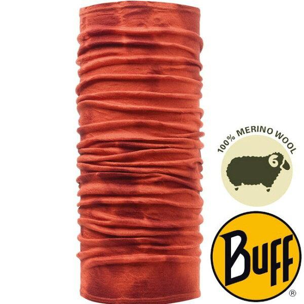 【【蘋果戶外】】BF108829西班牙BUFF美麗諾羊毛頭巾暖橙紮染保暖頭巾merinowool透氣吸汗