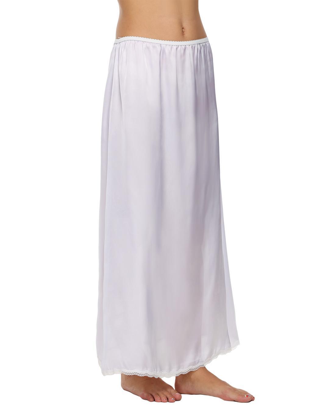 Women Satin Solid Lace Trim Maxi Half Slip Underskirt Slip Skirt 4